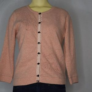 Free People | Pink Knit Cardigan Sweater | L